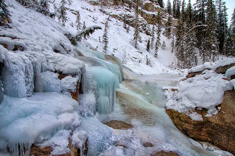 frozen river landscape