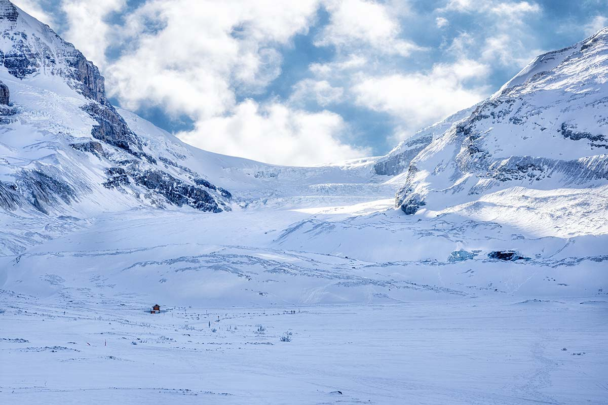 The great Athabasca glacier on winter 2016