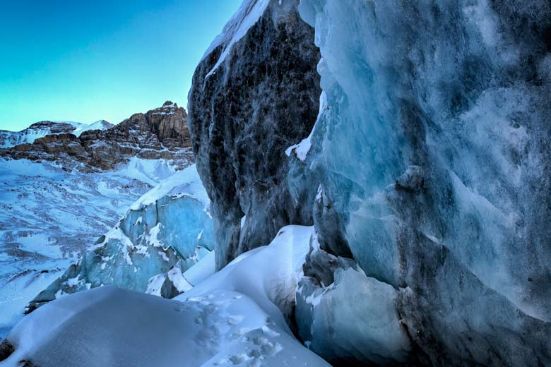 The great wall covered in ice at Athabasca glacier