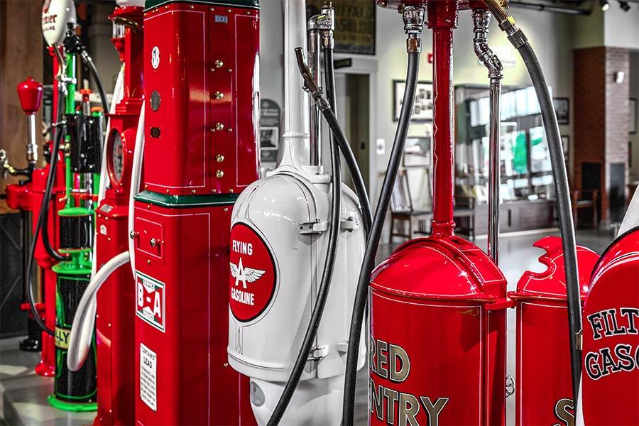 vintage gas pumps at Heritage park