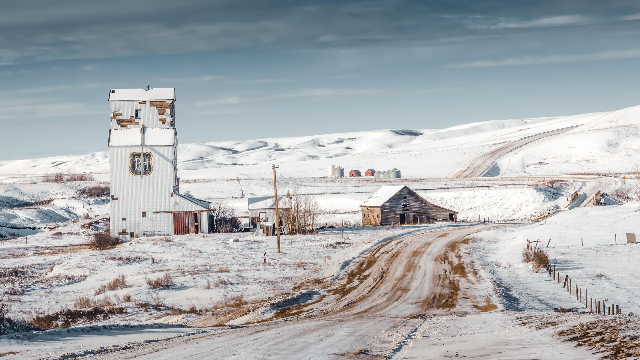 A view of the ghost town of Sharples, Alberta